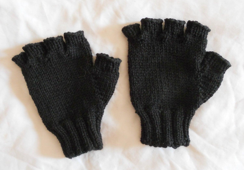 mens wool fingerless gloves black