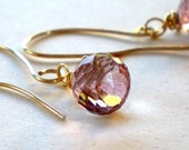 Grace - Handmade Earrings with Pink Mystic Quartz onion briolette and Gold filled wire