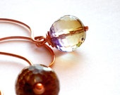RESERVED FOR ALESSANDRA Sun Sun Sun - Handmade Earrings Faceted Amethyst Ametrine Quartz Beads and copper Wire