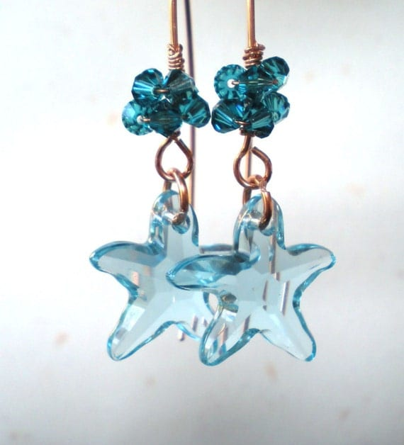 aquamarine starfish earrings by irenecollane by irenecollane