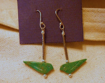 Carved Turquoise Bird and Sterllng Silver Earrings