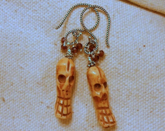 Evil Carved Bone Skull Earrings with Garnet, Sterling Silver