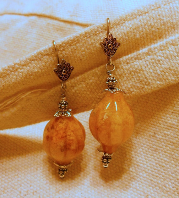 Stone Etrog and Hamsa Sterling Silver Earrings