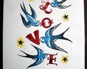 Love print, tattoo style swallows