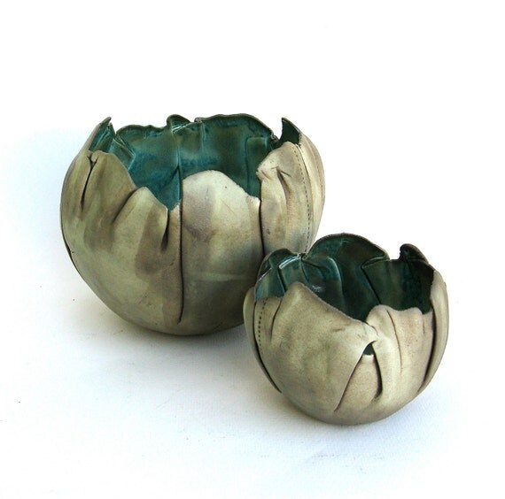 reserved for PATTI  ...   hand built porcelain balloon bowls   ....   copper