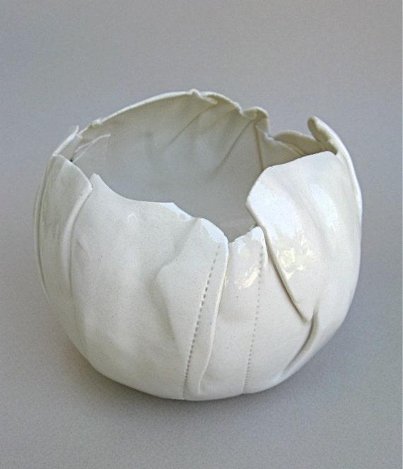hand built porcelain balloon bowl ...   pure white