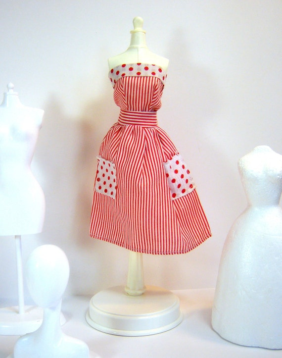 Sweet Vintage Mommy made Barbie dress. Super cute with red and white stripes and polka dots