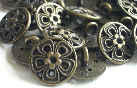 RESERVED for sistermoonjewelry -- 20 Brass Flower Buttons