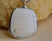 Squared Cream North Carolina Beach Sea Shell Pendant Necklace