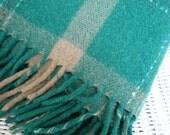 Vintage Emerald Green PLAID Wool Blanket