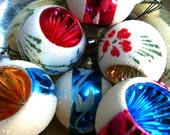 Vintage (12) Christmas Ornaments FROSTED and INDENTED