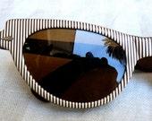 SALE Vintage 50's Eye Glasses for resort beach ski vacations Brown White Stripes