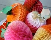 Resvd for paul Vintage Honeycomb Fruit and Veg Set  (5)