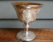 Vintage Mercury Glass Etched Design 1920s