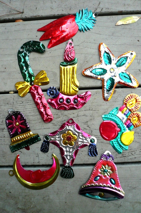 Vintage mexican tin christmas ornaments by lunaparkvintage