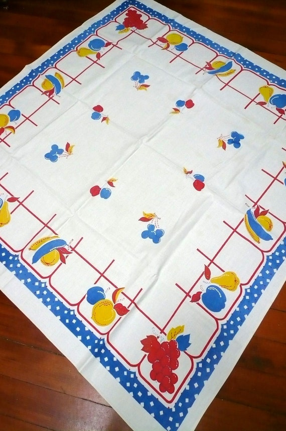 Vintage 1940s Tablecloth Primary Colors FRUIT
