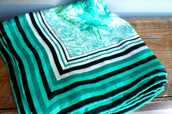 Vintage Scarf Silk Green Flowers with Striped Border