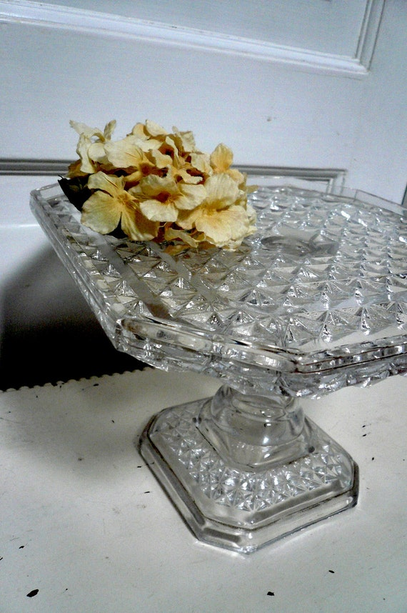 Vintage Cake Stand Square Depression Glass