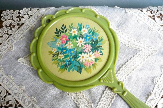 Vintage Hand Mirror Flower 1920s