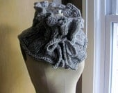 Handmade Ruffled Neckwarmer Grey Scarf
