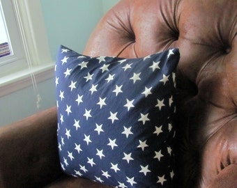 Pillow Cover 16x16 Blue and White Star Spangled Patriotic
