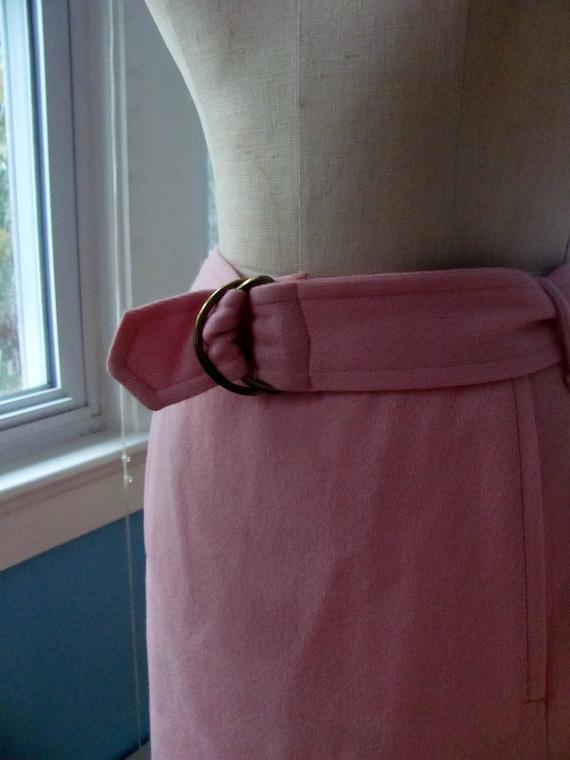 Vintage 1960s Bubblegum Pink Wool Skirt with Belt
