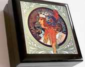 Keepsake / Jewelry Box - The Blonde by Alphonse Mucha.