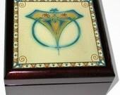 Keepsake / Jewelry Box - Vintage Art Nouveau Ceramic Tile Lid