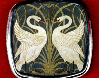 Compact Mirror - The Swans by Walter Crane.