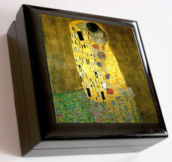 Keepsake / Jewelry Box - Vintage Art Nouveau - The Kiss by Gustav Klimt - Ceramic Tile Lid