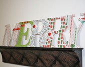 Reserved - Ryoko Yoshihara (charcoco) Wood Letters MERRY Christmas Decor traditional red and green, wood letters spell MERRY