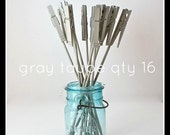 Place Card Holder, Clothes Pin on a Stick, gray taupe, set of 16 use for table number, photo, menu, in wedding home or office