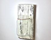 Primitive Wall Vase with mason jar, medium, distressed rustic finish, white on black, copper accent