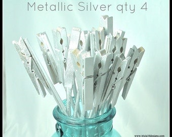 Table Number Holder, clothes pin on a stick, metallic silver, set of 4, use for place cards, menu, photos or notes