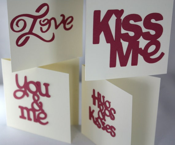 Set of 4 Mini Love Notes Words of Love with Envelopes, FREE SHIPPING