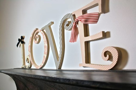 Home Decor Wall Letters : Wood art letters for home decor wall hanging by