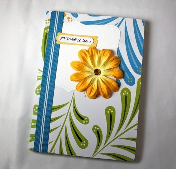 Pregnancy Book, Baby Book, Journal, Diary, Notebook, bright green and blue, 80 lined pages, personalize