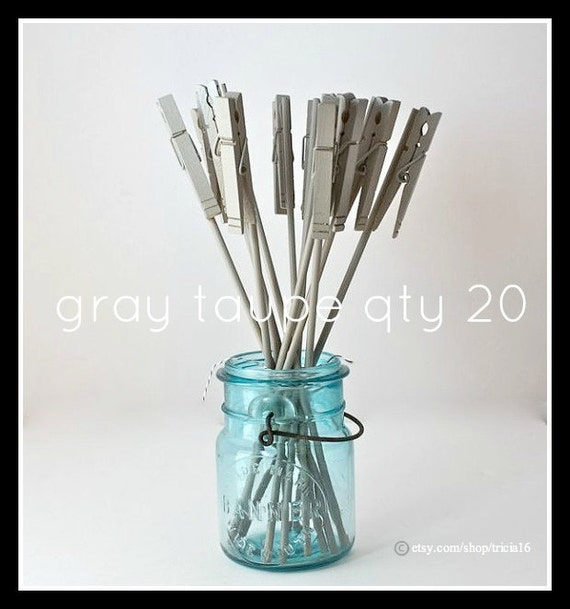 Table Number Holder, Clothes Pin on a Stick, gray taupe, set of 20, use for place name card, photo, memo, note, in wedding home or office