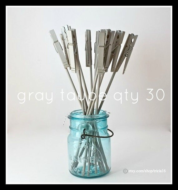 Table Number Holder, Clothes Pin on a Stick, gray taupe, set of 30, use for place name card, photo, memo, menu, notes, wedding home office