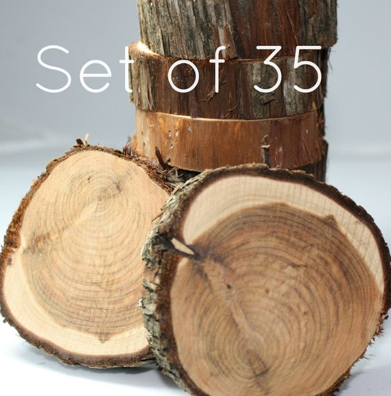 "Rustic Wedding Decor, Set of 35, natural cedar, wood slices, cuts, coasters, 3""- 4"" x 1"", unfinished, ready for DIY project, centerpiece"