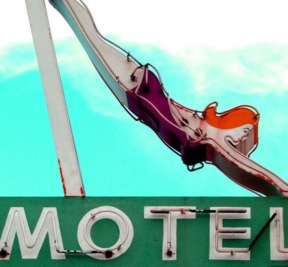 "Old Motel Sign with Diver Swimmer-Vintage Neon Motel Sign, Joan Hollaway, Mad Men, Christina Hendricks-8 3/4"" x 8"" Dive Inn"
