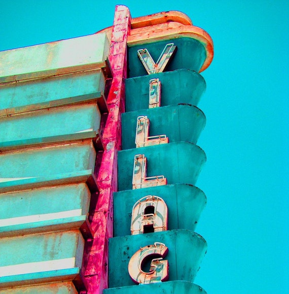 Vintage Movie Theater Cinema Sign in Aqua-8 x 10 Photograph-It Takes a Village