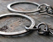 Brushed sterling silver lightweight earrings. Rustic long everyday dangle hoops. Organic textured & oxidized rings. Circles Hook Me Up.