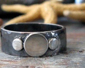 Rustic oxidized copper & sterling ring. Organic modern style. Contemporary brushed silver disc trio. Size 7. Bound to Fate.