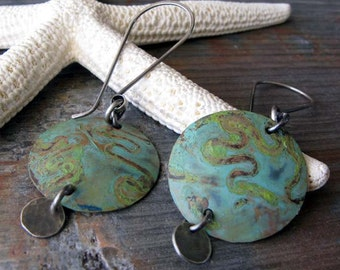 Copper verdigris patina and oxidized sterling silver dangle earrings. Rustic mixed metals. Organic gift for her.  Wishful Thinking.