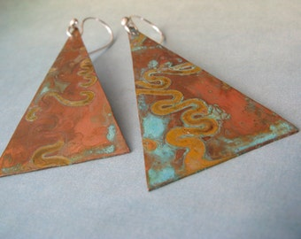 Modern rustic patina triangle earrings.  Long copper geometric artisan handmade jewelry.  Sterling silver ear hooks.  Urban gift for her.