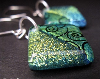 Clearance Sale. Blue and green fused glass earrings with sterling silver.  Sparkling dichroic flashes of color.  Monkey Tree...