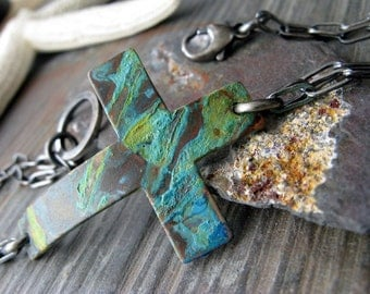 Rustic verdigris copper sideways cross brushed and oxidized sterling silver bracelet. Organic patina jewelry. Artisan handmade gift for her