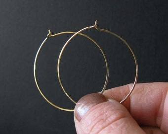 "18k solid gold hoop earrings.  Quality artisan handmade.  Medium 1 3/8"" size. Simple lightweight bridal jewelry.  Gift for her."