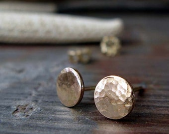 14k Gold filled post earrings. Bridesmaid jewelry.  Simple everyday hammered small 6.5mm disc studs. Minimalist jewelry.  Gift for her.